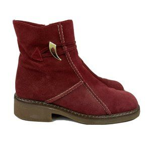 La Canadienne Waterproof Boots 8 Red Stitch Suede